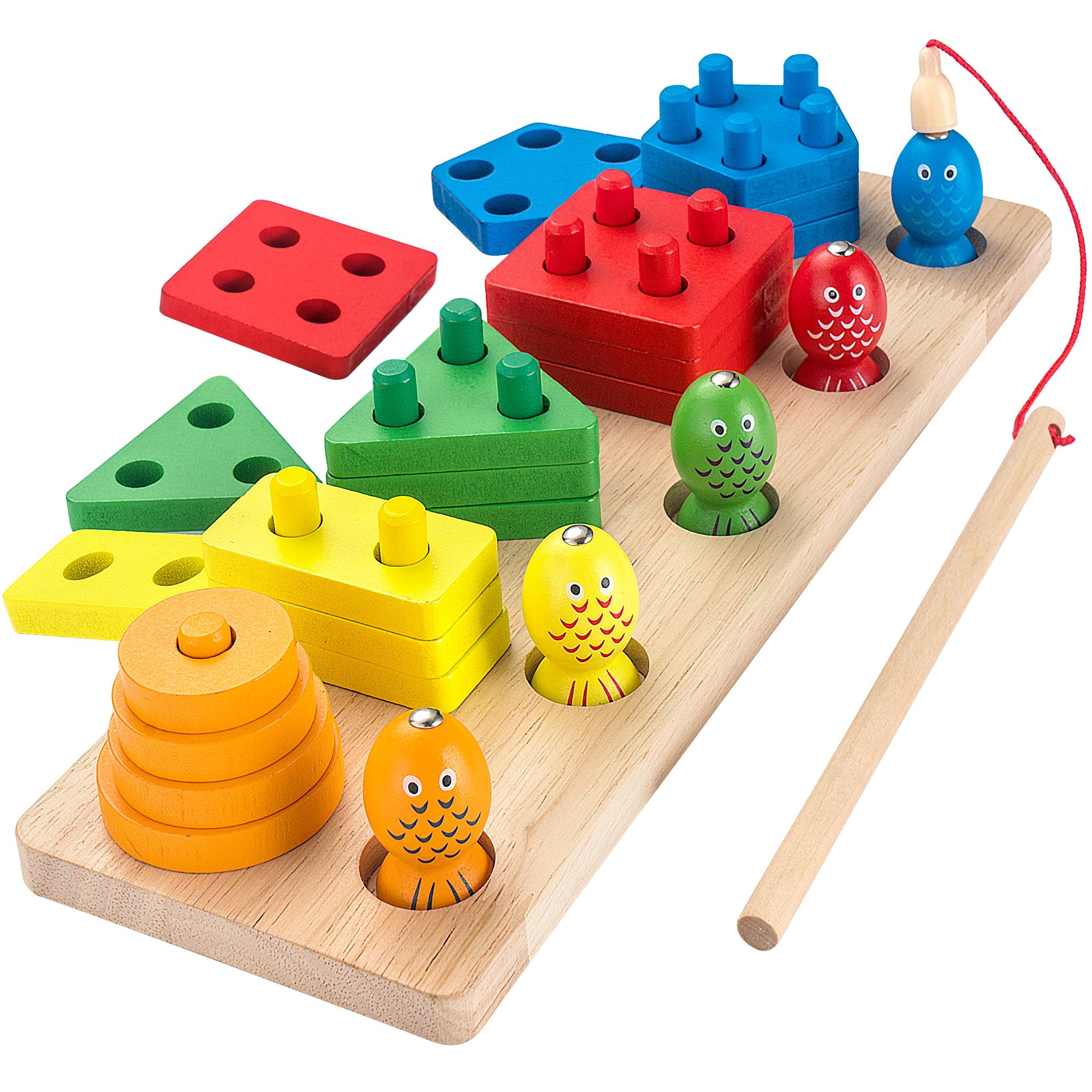 AppyHut Montessori Shape Sorter Stacker Wooden Educational ...